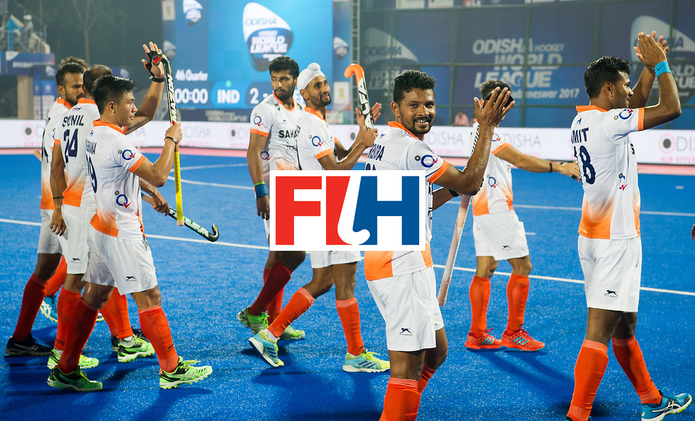 Odisha Men's Hockey World League Final Bhubaneswar 2017<br /> Match id:05<br /> 06 IND v ENG (Pool B)<br /> Foto: India after the game.<br /> WORLDSPORTPICS COPYRIGHT FRANK UIJLENBROEK