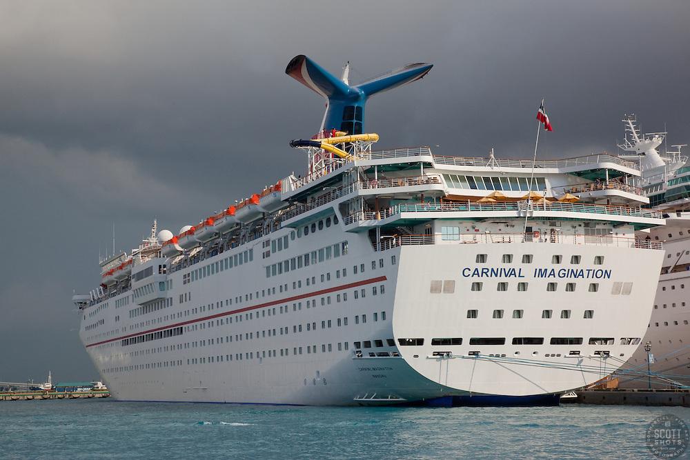 Carnival Imagination cruise ship in Nassau, Bahamas.