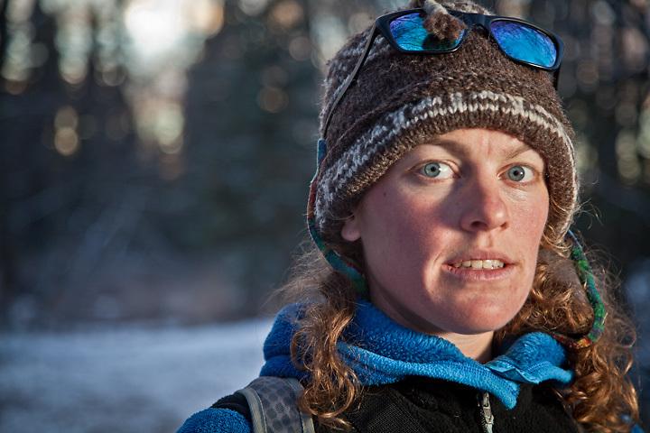 River restoration specialist, Kate Greeberg, Tony Knowles Coastal Trail, Anchorage.