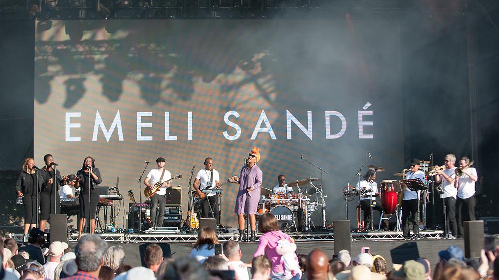 Glasgow, Scotland, UK. 1st July, 2018. Emeli Sande in concert at The Fiesta x Fold Festival, Credit: Stuart Westwood/Alamy Live News