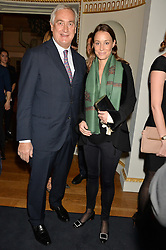 Actress GEORGINA RYLANCE and her husband GIUSEPPE CIARDI at an evenig of Jewellery & Photography to launch the Buccellati 'Opera Collection' held at Spencer House, London on 21st October 2015.
