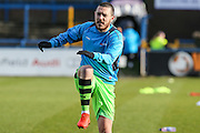 Forest Green Rovers Liam Noble(15) warming up during the FA Trophy match between Macclesfield Town and Forest Green Rovers at Moss Rose, Macclesfield, United Kingdom on 4 February 2017. Photo by Shane Healey.