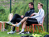 09/01/15<br /> CELTIC TRAINING <br /> SALOBRE GOLF RESORT - GRAN CANARIA<br /> Celtic Manager Ronny Deila (left) joins Stefan Johansen as they enjoy a seat on the sidelines of training