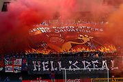 Smoke fills Nipper Stadium prior to the start of the 'Hell is Real' MLS soccer match between FC Cincinnati and the Columbus Crew, Sunday, Aug 25th, 2019, in Cincinnati, OH. (Jason Whitman/Image of Sport)