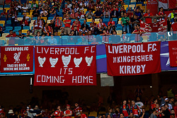 KIEV, UKRAINE - Saturday, May 26, 2018: Liverpool supporters and their banners during the UEFA Champions League Final match between Real Madrid CF and Liverpool FC at the NSC Olimpiyskiy. (Pic by Peter Powell/Propaganda)