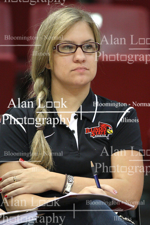 01 September 2012:  Athletics Communications graduate assistant Lauren Hutchcraft during an NCAA women's volleyball match between the Oregon State Beavers and the Illinois State Redbirds at Redbird Arena in Normal IL