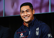 Warriors captain Roger Tuivasa-Sheck.<br /> Vodafone New Zealand announce the renewing of sponsorship for the Vodafone Warriors at InnoV8 Auckland Vodafone HQ, North Shore, Auckland. Thursday 24 May 2018. © Copyright Image: Andrew Cornaga / www.photosport.nz