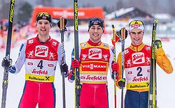 02.02.2020, Seefeld, AUT, FIS Weltcup Nordische Kombination, Langlauf, Siegerehrung, im Bild v.l. Joergen Graabak (NOR), Jarl Magnus Riiber (NOR), Vinzenz Geiger (GER) // f.l. Joergen Graabak of Norway Jarl Magnus Riiber of Norway and Vinzenz Geiger of Germany during the winner ceremony of FIS Nordic Combined World Cup at the Seefeld, Austria on 2020/02/02. EXPA Pictures © 2020, PhotoCredit: EXPA/ Stefan Adelsberger