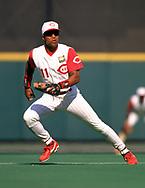 CINCINNATI - 1994:  Barry Larkin of the Cincinnati Reds fields during an MLB game at Riverfront Stadium in Cincinnati, Ohio during the 1994 season. (Photo by Ron Vesely).  Subject:   Barry Larkin