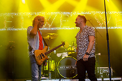 Graeme Clark and their new singer, former Liberty X singer Kevin Simm. Wet Wet Wet play the main stage. Party at the Palace 2019.