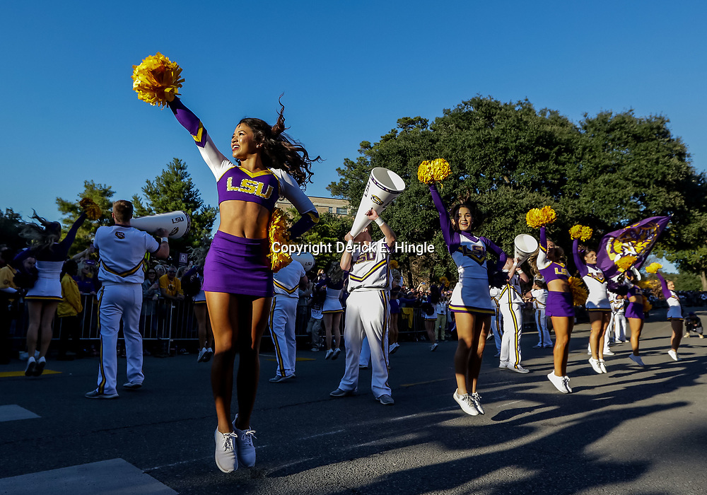 Nov 3, 2018; Baton Rouge, LA, USA; LSU Tigers cheerleaders perform prior to kickoff against the Alabama Crimson Tide at Tiger Stadium. Mandatory Credit: Derick E. Hingle-USA TODAY Sports