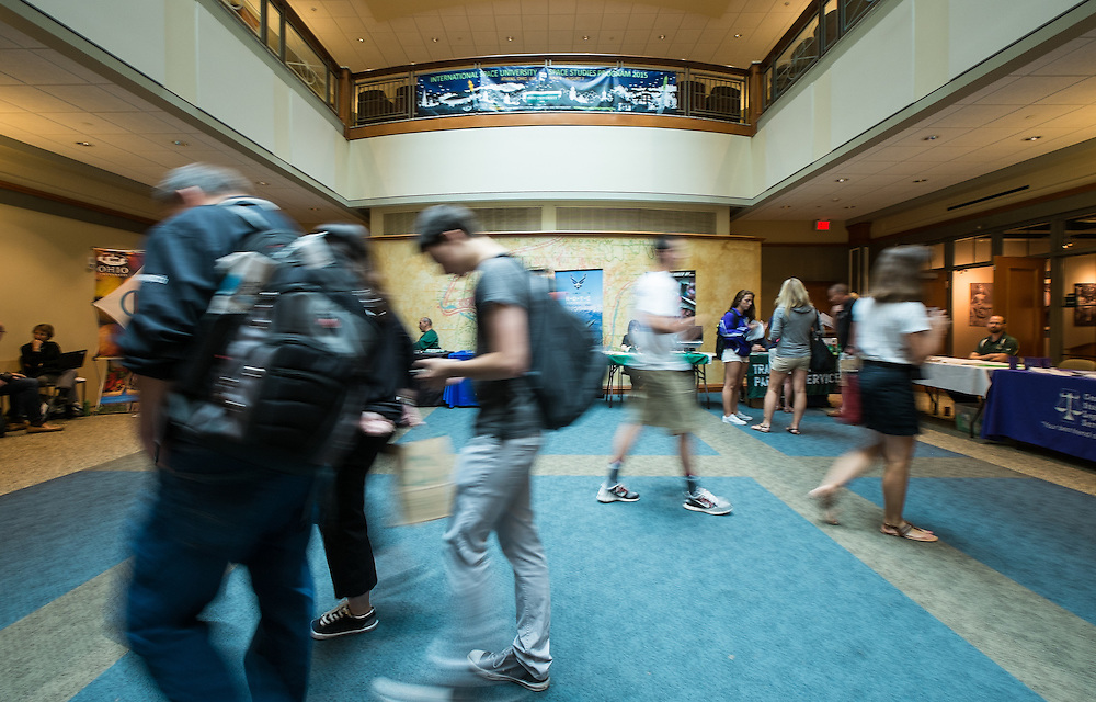 Students and parents make their way through the Involvement Resource Fair on Wednesday, June 3, 2015 as a part of Bobcat Student Orientation.  Photo by Ohio University  /  Rob Hardin