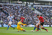 GOAL - 0-1 Southampton midfielder Pierre-Emile Hojbjerg (23) shoots and scores past Brighton and Hove Albion goalkeeper Mathew Ryan (1) during the Premier League match between Brighton and Hove Albion and Southampton at the American Express Community Stadium, Brighton and Hove, England on 30 March 2019.