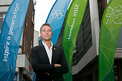 © Licensed to London News Pictures.08/062012.Stratford, London UK..Olympic Street Dressing unveiled..The Mayor's director of marketing and 2012 communications Daniel Ritterband..Stratford Broadway was the first place to receive the London 2012 branded street dressing for this summers Olympics games Photo credit : Andrew Baker/LNP