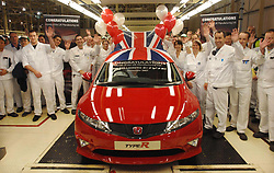 File photo dated 09/11/07 of the millionth Civic built at the Swindon Honda factory. According to unconfirmed reports, the company is planning to close its plant in the town in three years time.