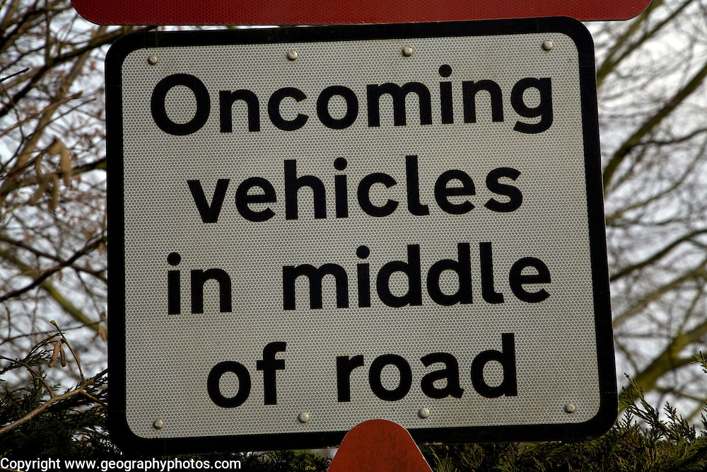 Oncoming vehicles in middle of road sign