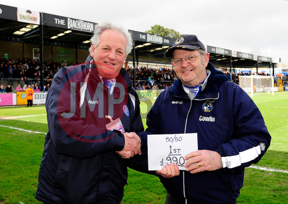 The half time draw. 50/50  - Photo mandatory by-line: Dougie Allward/JMP - Mobile: 07966 386802 12/04/2014 - SPORT - FOOTBALL - Bristol - Memorial Stadium - Bristol Rovers v Torquay United - Sky Bet League Two