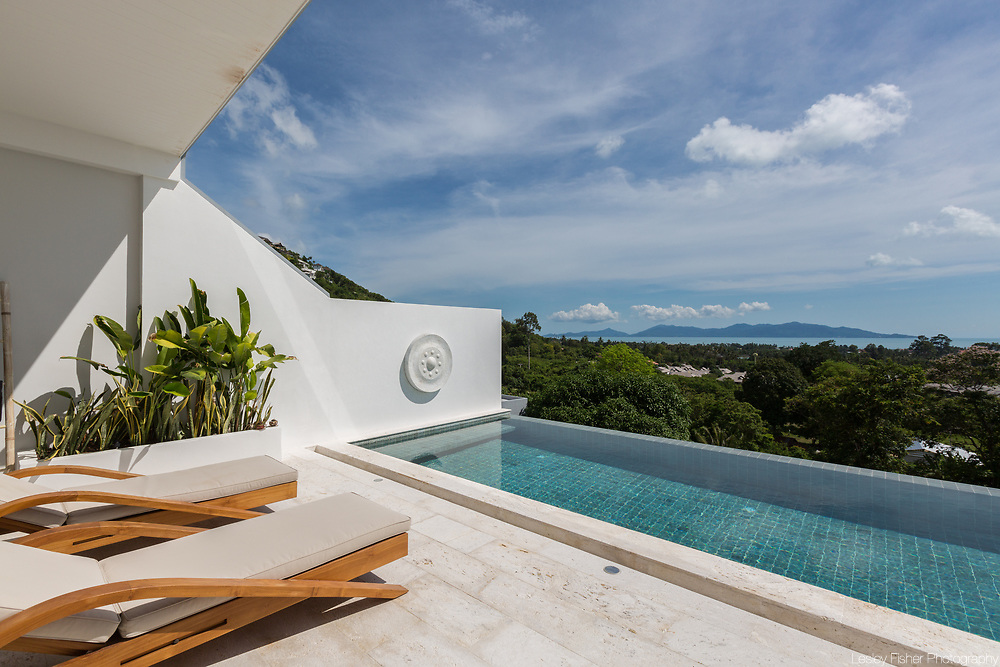Swimming pool and view at Villa Casamui, a 3 bedroom ocean view villa located at Ocean 180 Samui estate located in the Bophut Hills, Koh Samui, Thailand