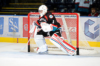 KELOWNA, CANADA, OCTOBER 11:  Adam Brown #1 of the Kelowna Rockets defends the net as the Medicine Hat Tigers visited the Kelowna Rockets on October 11, 2011 at Prospera Place in Kelowna, British Columbia, Canada (Photo by Marissa Baecker/shootthebreeze.ca) *** Local Caption *** Adam Brown;