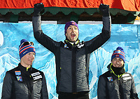 Kombinert<br /> FIS World Cup<br /> Foto: Gepa/Digitalsport<br /> NORWAY ONLY<br /> <br /> RAMSAU AM DACHSTEIN,AUSTRIA,19.DEC.15 - NORDIC SKIING, NORDIC COMBINED - FIS World Cup, normal hill/ 10km Gundersen, men, award ceremony. Image shows the rejoicing of Magnus Krog, Magnus Moan and Jarl Magnus Riiber (NOR).