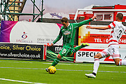 Celtic FC Midfielder Kris Commons smashing a shot during the Ladbrokes Scottish Premiership match between Hamilton Academical FC and Celtic at New Douglas Park, Hamilton, Scotland on 4 October 2015. Photo by Craig McAllister.