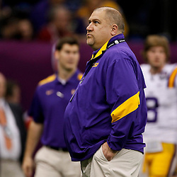 Jan 9, 2012; New Orleans, LA, USA; LSU Tigers offensive coordinator Greg Studrawa before the 2012 BCS National Championship game against the Alabama Crimson Tide at the Mercedes-Benz Superdome.  Mandatory Credit: Derick E. Hingle-US PRESSWIRE