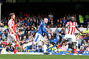 Wayne Rooney (10) wheels away to celebrate his goal 1-0 during the Premier League match between Everton and Stoke City at Goodison Park, Liverpool, England on 12 August 2017. Photo by Craig Galloway.