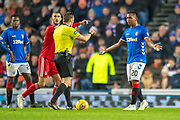 Alfredo Morelos (#20) of Rangers FC appeals to the referee Steven McLean after giving away a foul during the Ladbrokes Scottish Premiership match between Rangers and Aberdeen at Ibrox, Glasgow, Scotland on 5 December 2018.