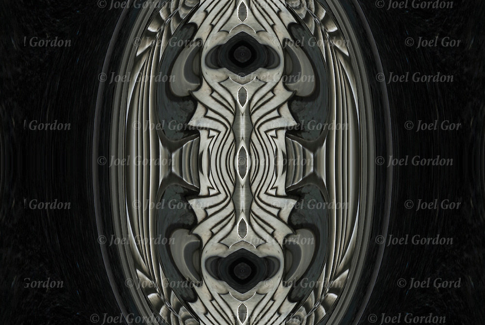 Photographic series of digital computer art from an image of decorative Art Deco silver color metalwork. <br />