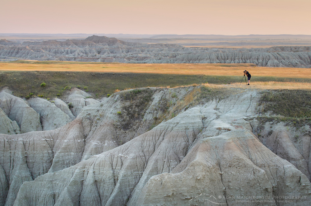 Photographer at White River Valley Overlook. Badlands National Park South Dakota