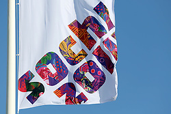 The XXII Winter Olympic Games 2014 in Sotchi, Olympics, Olympische Winterspiele Sotschi 2014<br /> Olympic Park, Olympischer Park, flag, flags, Logo