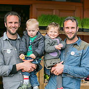 NO REPRO FEE<br /> 29/04/2015<br /> Greystones, Co. Wicklow.<br /> Pictured here are The Happy Pear brothers Stephen (left) and David Flynn with two of their little pears Theo (left centre) and Issy Flynn. the Happy Pear pledged their support for YesEquality saying that they believe &ldquo;everyone has the right to be a happy pair&rdquo;.<br /> Pic: Alan Rowlette