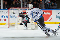 KELOWNA, BC - OCTOBER 04:Jared Legien #23 of the Victoria Royals takes a shot on net against the Kelowna Rockets at Prospera Place on October 4, 2017 in Kelowna, Canada. (Photo by Marissa Baecker/Getty Images)