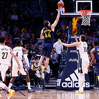 03 April 2018: Indiana Pacers forward Bojan Bogdanovic (44) goes for the layup during the Denver Nuggets 107-104 victory over the Indiana Pacers, at the Pepsi Center, Denver, Colorado, USA.