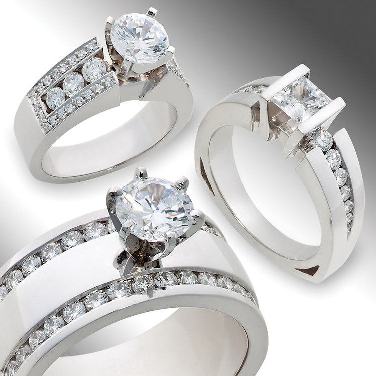 White gold diamond wedding rings, shot seperately and combined into one image
