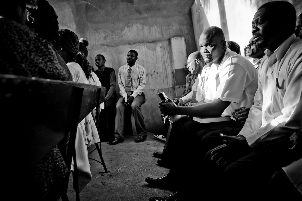 Sunday church services at Eglise Baptiste Bellevue Salem MEBSH church in Port-au-Prince, Haiti.