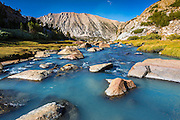 Stream in Sam Mack Meadow, John Muir Wilderness, Sierra Nevada Mountains, California USA