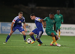 Dean Furman (C) of SuperSport United and Wayde Jooste of Golden Arrows clash during the 2016 Premier Soccer League match between Golden Arrows and Supersport United held at the Princess Magogo Stadium in Durban, South Africa on the 28th September 2016<br /> <br /> Photo by:   Steve Haag / Real Time Images