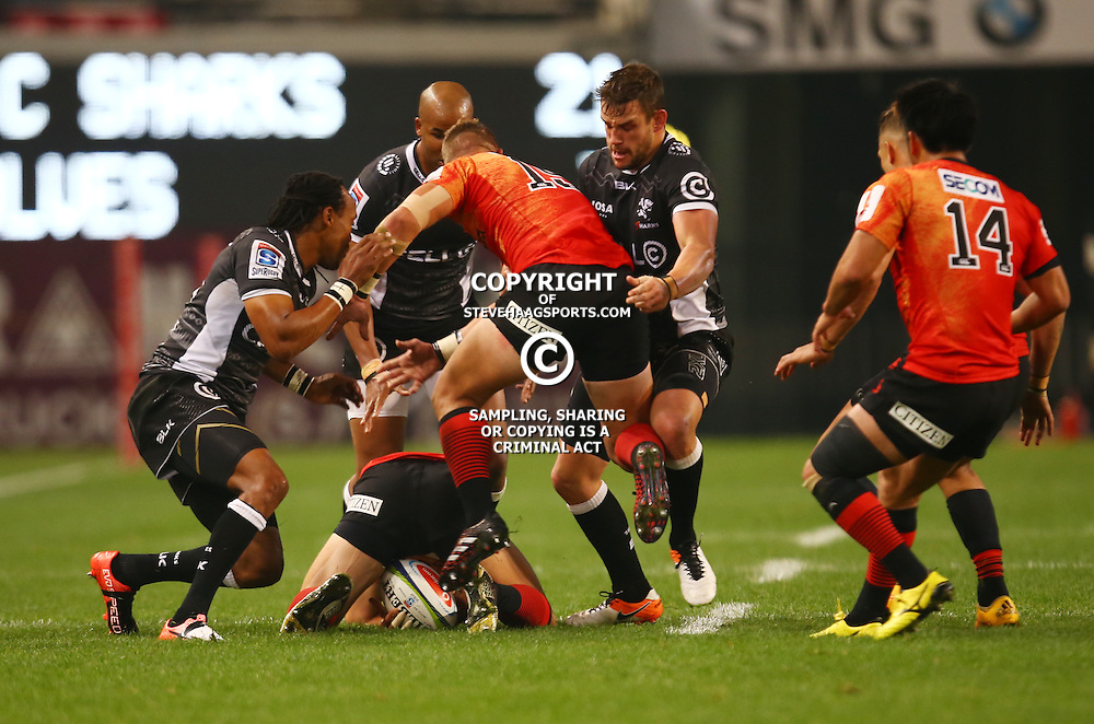 DURBAN, SOUTH AFRICA - JULY 15: Keegan Daniel of the Cell C Sharks tackling Riaan Viljoen of the Sunwolves during the Super Rugby match between the Cell C Sharks and Sunwolves at Growthpoint Kings Park on July 15, 2016 in Durban, South Africa. (Photo by Steve Haag/Gallo Images)