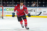 KELOWNA, CANADA - MARCH 9: Alex Swetlikoff #17 of the Kelowna Rockets warms up against the Kamloops Blazers  on March 9, 2019 at Prospera Place in Kelowna, British Columbia, Canada.  (Photo by Marissa Baecker/Shoot the Breeze)