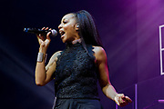 Terry Ellis of En Vogue performs during the Summer Spirit Festival at Merriweather Post Pavilion in Columbia, Md on Sunday, August 6, 2017.