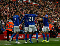 Football - 2019 / 2020 Premier League - Liverpool vs. Newcastle United<br /> <br /> Leicester City players celebrate after James Maddison scores to make it 1-1 in the dying minutes at Anfield.<br /> <br /> COLORSPORT/ALAN MARTIN