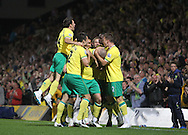 Picture by Paul Chesterton/Focus Images Ltd.  07904 640267.26/9/11.Steve Morison of Norwich scores his sides 2nd goal and celebrates during the Barclays Premier League match at Carrow Road stadium, Norwich.