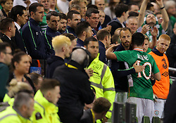 Robbie Keane is thanked by his team mates - Mandatory by-line: Ken Sutton/JMP - 31/08/2016 - FOOTBALL - Aviva Stadium - Dublin,  - Republic of Ireland v Oman -