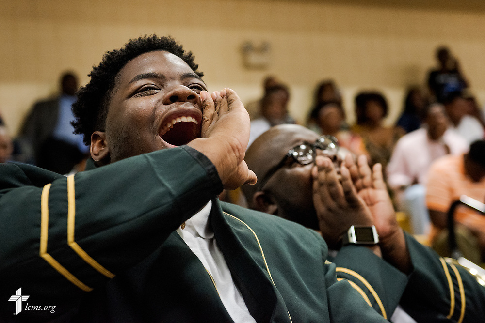 Band member Thomas Boggs screams for a friend of his graduating during the 92nd and final Commencement Exercises on Saturday, April 28, 2018, in the Julius and Mary Jenkins Center at Concordia College Alabama in Selma, Ala. LCMS Communications/Erik M. Lunsford