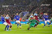 Goal Leicester City midfielder Harvey Barnes (15) scores a goal 1-0 during the Premier League match between Leicester City and West Ham United at the King Power Stadium, Leicester, England on 22 January 2020.