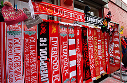 LIVERPOOL, ENGLAND - Sunday, January 17, 2016: Scarves on sale before the Premier League match between Liverpool and Manchester United at Anfield. (Pic by David Rawcliffe/Propaganda)