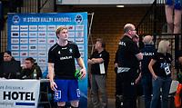 2019-04-23 | Jönköping, Sweden: IF Hallby HK (4) Joel Järlfors during warmup before the qualifying game 4 to Swedish Handball League between IF Hallby HK and HIF Karlskrona at Idrottshuset ( Photo by: Marcus Vilson | Swe Press Photo )<br /> <br /> Keywords: Idrottshuset, Jönköping, Handball, Qualifying Game 4, IF Hallby HK, HIF Karlskrona, Sport