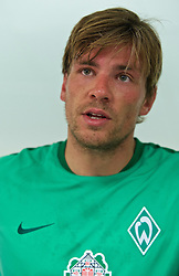 01.07.2015, Weserstadion, Bremen, GER, 1. FBL, SV Werder Bremen, Trainingsauftakt, im Bild Clemens Fritz (SV Werder Bremen #8) beim Interview // during a Trainingssession of German Bundesliga Club SV Werder Bremen at the Weserstadion in Bremen, Germany on 2015/07/01. EXPA Pictures &copy; 2015, PhotoCredit: EXPA/ Andreas Gumz<br /> <br /> *****ATTENTION - OUT of GER*****