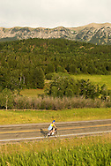 Bicycling, north of Bozeman, Montana, Bridger Mountains